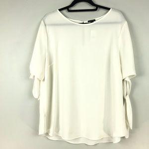NEW Ann Taylor Sz XL Tie Sleeve Blouse Ivory
